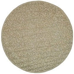 Martha Stewart Sprig Myrtle Grey Cotton Rug (6' Round)