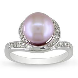 Sterling Silver Lilac Freshwater Pearl and Diamond Ring (9-9.5 mm)
