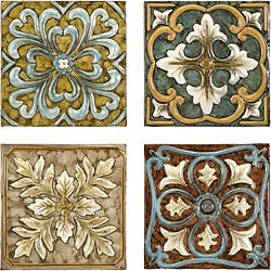 Set 4 Old Spanish Mission Rosette Design Wall Tiles
