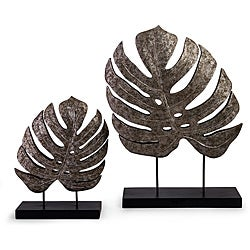 Set of 2 Argento Antique Silvertone Accent Leaves