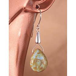14k Gold 'Drops from Neptune's Moon Triton' Glass Bead Earrings