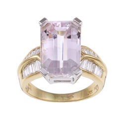 Kabella 18k Yellow Gold Kunzite and 7/8ct TDW Diamond Ring (H-I, I1-I2)