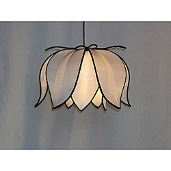 Hanging Blooming White Lotus Lamp (Vietnam) - Thumbnail 0