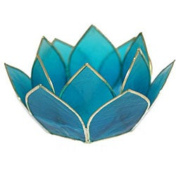 Capiz Shell Lotus Turquoise Tea Light Holder (Philippines) - Thumbnail 0