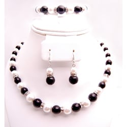 Black, Gray and White Glass Pearl Bead Jewelry Set