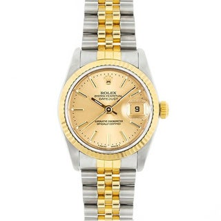 Pre-Owned Rolex Midsize Datejust Champagne Dial Two-tone Watch