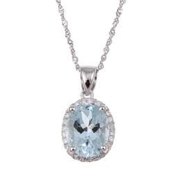 14k White Gold Aquamarine and Diamond Accent Necklace