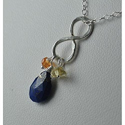 Sterling and Fine Silver Infinity Pendant with Lapis, Mandarin Garnet, and Citrine Necklace
