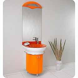 Shop Fresca Calmo Orange Bathroom Vanity and Mirror Set ...