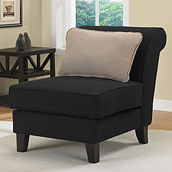 Shop Black Slipper Chair And Taupe Pillow Set Free