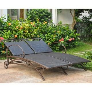 International Caravan Valencia Resin Wicker Multi-position Double Patio Chaise Lounge