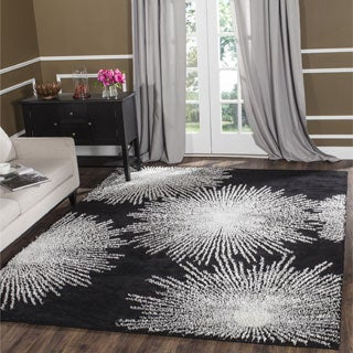 Safavieh Handmade Soho Burst Black New Zealand Wool Rug (8' Square)