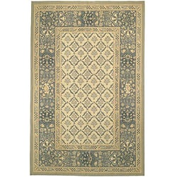 Large Hand-Knotted French Aubusson Ivory Wool Rug (10' x 14')