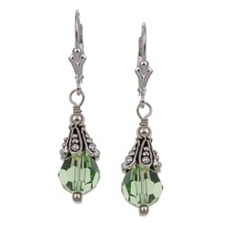 Lola's Jewelry Sterling Silver Green Crystal Earrings