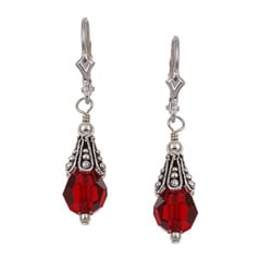 Charmed Life Sterling Silver Red Crystal Earrings
