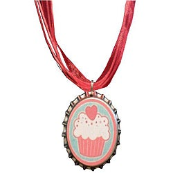 Steel Yummy Cupcake Bottle Cap Necklace