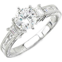 Victoria Kay 14k Gold 3/4ct TDW Designer Diamond and CZ Engagement Ring (H, SI1)