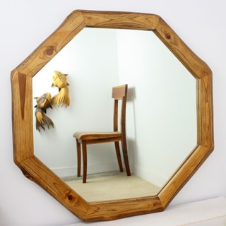 Teak Wood Walnut Oil Finish Octagon Mirror (Thailand)