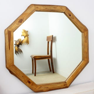 Handmade Teak Wood Walnut Oil Finish Octagon Mirror (Thailand)