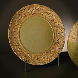 Old World Faux Stone Green Glaze Charger