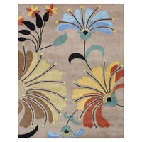 Alliyah Handmade Flower Beige New Zealand Blend Wool Rug (9' x 12') - 9' x 12'