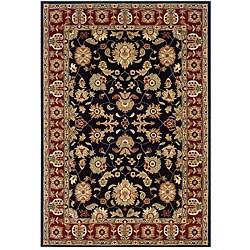 Indoor Black Floral Rug - 9' x 13' - Thumbnail 0