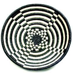 Plant Fiber Black and White Plateau Basket (Rwanda) - Thumbnail 0
