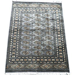Pakistani Hand-knotted Blue/ Ivory Bokhara Wool Rug (4' x 6')