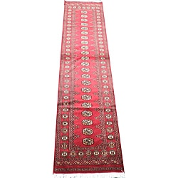 Herat Oriental Pakistan Hand-knotted Bokhara Red/ Ivory Wool Runner (2'6 x 10')