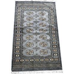 Pakistani Hand-knotted Gray/ Ivory Bokhara Wool Rug (3'x 5')