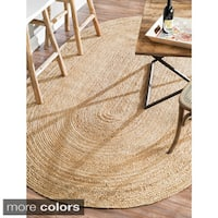 Havenside Home Duck Eco Natural Fiber Braided Reversible Oval Jute Area Rug  - 8' x 10'