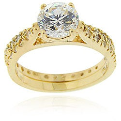 Icz Stonez 18k Gold over Sterling Silver Cubic Zirconia Bridal Ring Set