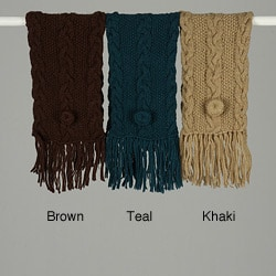 Handmade Jordan Cableknit Crossover Wool Scarf (Nepal) - Thumbnail 0