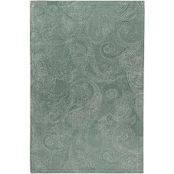 Hand-tufted Designer Silver Sage Paisley Print Wool Rug (5' x 8')