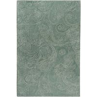 Hand-tufted Designer Silver Sage Paisley Print Wool Area Rug - 5' x 8'