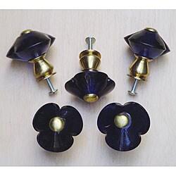 Thumbnail 1, Cobalt Blue 3-petal Glass and Satin Brass Knobs (Set of 5).