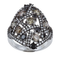 Kabella 14k Gold 2 7/8ct TDW Brown, Black and White Diamond Ring (H-I, SI1-SI2)