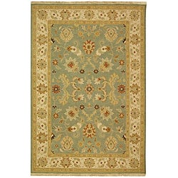 Indo Hand-woven Sumak Light Blue/ Beige Rug (8' x 10')