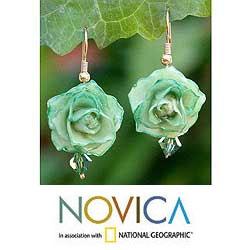 Handmade Natural Rose 'Timeless Green' Flower Earrings (Thailand)