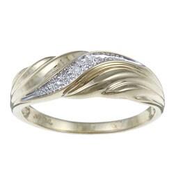 Men's 10k Yellow Gold Diamond Accent Wedding Ring
