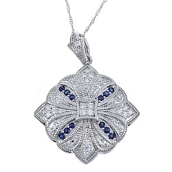 14k White Gold 1/3ct TDW Diamond and Sapphire Necklace (H-I, I1-I2)