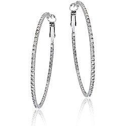 Icz Stonez Sterling Silver Large Inside-out Cubic Zirconia Hoop Earrings
