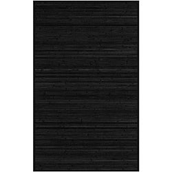 Hand-woven Black Natural Fiber Rayon from Bamboo Rug (5' x 8')
