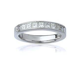 Montebello 14k White Gold Women's 1ct TDW Certified Princess-Cut Diamond Channel Wedding Band