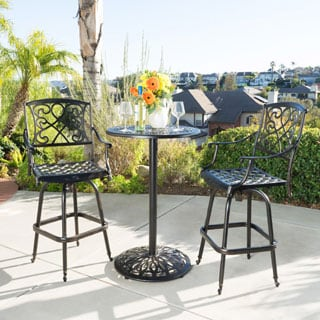 Santa Maria Shiny Copper Cast Aluminum 3-piece Bistro Bar Set by Christopher Knight Home