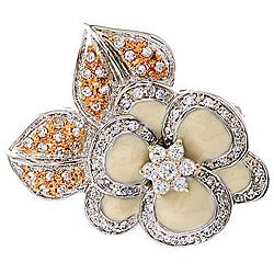 Collette Z Platinum over Silver Off-white Enamel and Cubic Zirconia Flower Pin