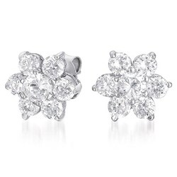 Collette Z Sterling Silver Round-cut Cubic Zirconia Flower Stud Earrings