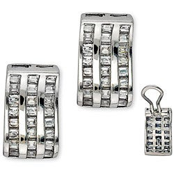 Collette Z Platinum over Sterling Silver Baguette-cut Cubic Zirconia Earrings