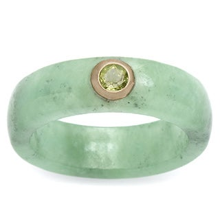 .26 TCW Round Peridot and Green Jade Ring in 10k Gold Naturalist (More options available)