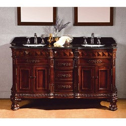 OVE Decors Birmingham 60-inch Dark Cherry and Granite Double Sink Bathroom Vanity